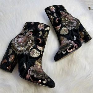 ALDO baroque sequin sparkle ankle booties
